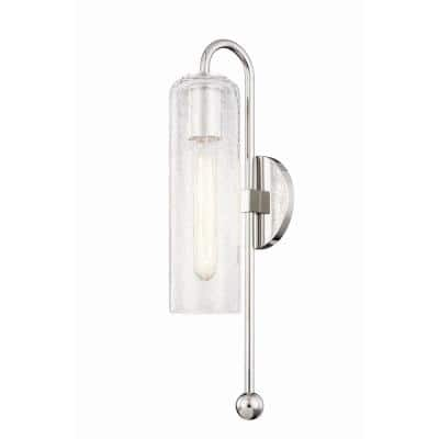 Skye 1-Light Polished Nickel Wall Sconce with Clear Crackle Glass Shade