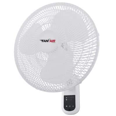 16 in. Indoor White Wall Fan with Remote Control