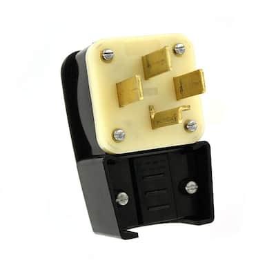 30 Amp 120/208-Volt 3-Phase Straight Blade Non-Grounding Plug, Black/White