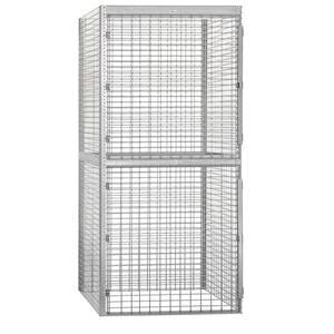 Salsbury Industries 8200 Series 36 In W X 90 In H X 36 In D 2 Tier Bulk Storage Locker Starter In Aluminum 8233 S The Home Depot