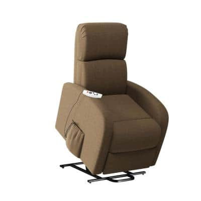 Modern Power Recline and Lift Chair with Heat and Massage in Chestnut Brown Chenille