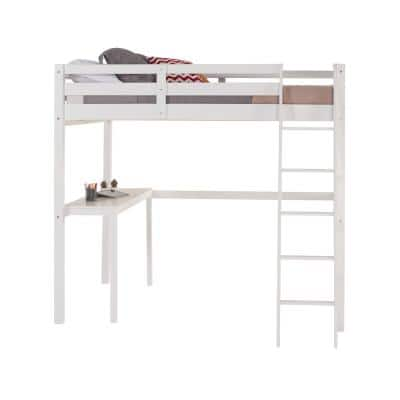 Tribeca White Twin Size High Loft Bed with Desk