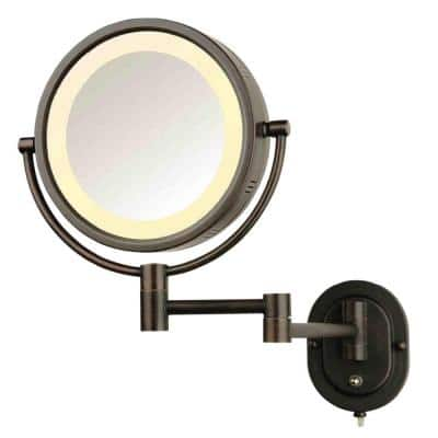 8 in. x 8 in. Round Lighted Wall Mounted Direct Wired 5X Magnification Makeup Mirror in Bronze