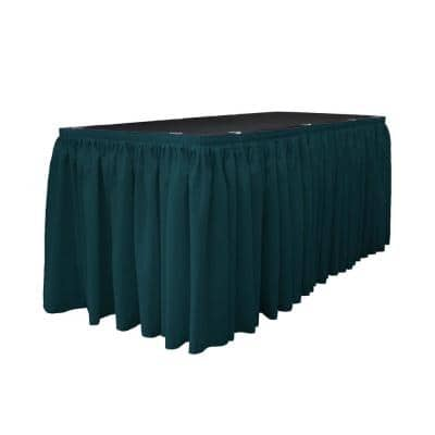 17 ft. x 29 in. Long Dark Teal Polyester Poplin Table Skirt with 10 L-Clips