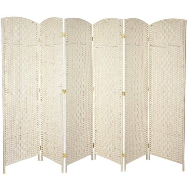 Oriental Furniture 6 Ft White Panel Room Divider Fbopdmnd6pwht The Home Depot