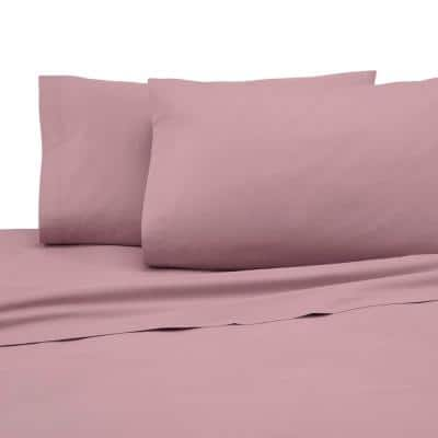 4-Piece Dusty Rose Solid 225 Thread Count Cotton Blend Queen Sheet Set