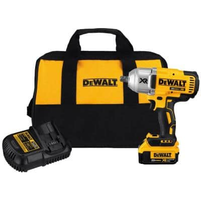 20-Volt MAX XR Cordless Brushless 1/2 in. High Torque Impact Wrench with Detent Pin Anvil, (1) 20-Volt 4.0Ah Battery