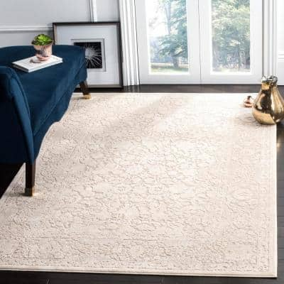 Reflection Beige/Cream 8 ft. x 10 ft. Floral Distressed Area Rug