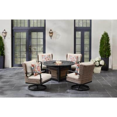 Hazelhurst 5-Piece Brown Wicker Outdoor Patio Fire Pit Seating Set with CushionGuard Almond Tan Cushions