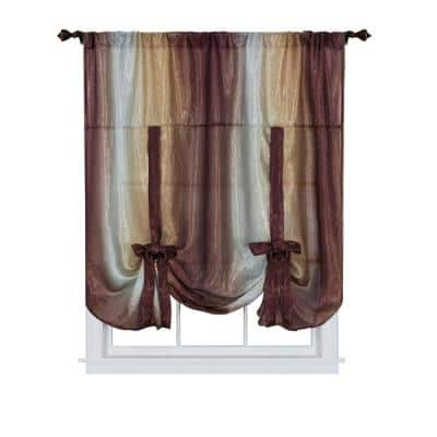 Ombre 50 in. W x 63 in. L Polyester Light Filtering Window Panel in Chocolate