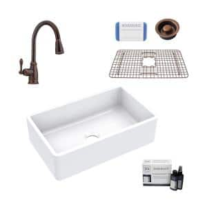 Turner All-in-One Fireclay 30 in. Single Bowl Farmhouse Kitchen Sink with Pfister Faucet and Drain