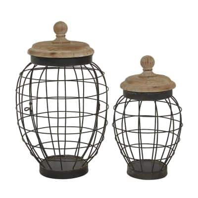 Round Black Open Metal Frame Jar With Natural Wood Lid, Set of 2: 12 in., 15 in.