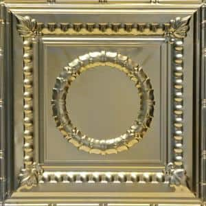 Victory 2 ft. x 2 ft. Lay-in Tin Ceiling Tiles Gold Nugget 12 Pack (48 sq. ft. / box)