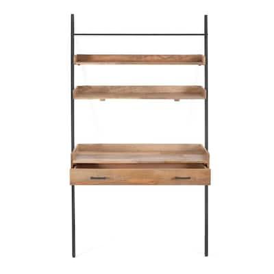 41 in. Rectangular Black/Natural 1-Drawer Writing Desk with Shelf