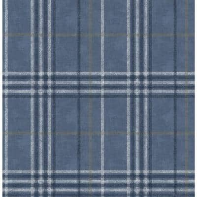 Rockefeller Navy Plaid Paper Strippable Roll (Covers 56.4 sq. ft.)