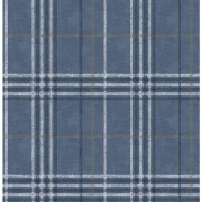 Rockefeller Navy Plaid Navy Wallpaper Sample