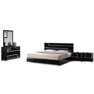 Barcelona Black Modern King Bedroom Set (5-Piece)
