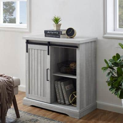 32 in. Stone Grey Modern Farmhouse Accent Cabinet