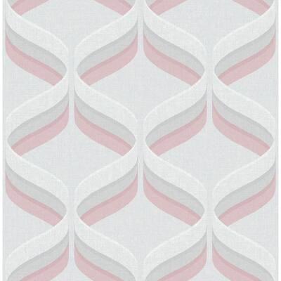 Retro Ogee Geometric Rose Gold Wallpaper Sample