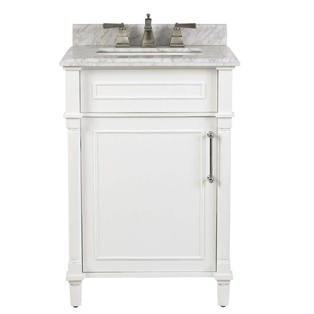 Home Decorators Collection Aberdeen 24 In W X 20 In D Bath Vanity In White With Carrara Marble Top With White Sink 8103200410 The Home Depot