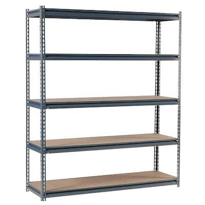 Gray 5-Tier Heavy Duty Steel Garage Storage Shelving (60 in. W x 72 in. H x 24 in. D)