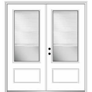 Mmi Door 72 In X 80 In Internal Blinds Left Hand Inswing 3 4 Lite 1 Panel Clear Painted Fiberglass Smooth Prehung Front Door Z004520l The Home Depot