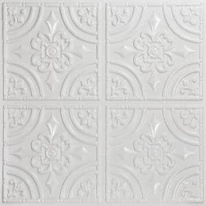 Wrought Iron 2 ft. x 2 ft. Glue Up PVC Ceiling Tile in White Pearl (100 sq. ft./case)
