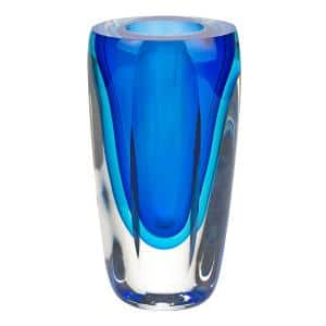 Azure 6.5 in. H Mouth Blown Thick Walled Decorative Vase