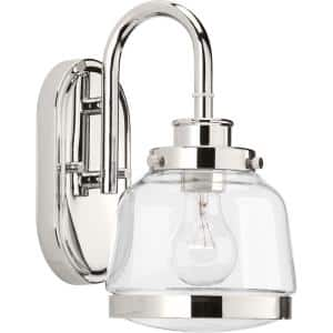 Judson Collection 1-Light Polished Nickel Clear Glass Farmhouse Bath Vanity Light