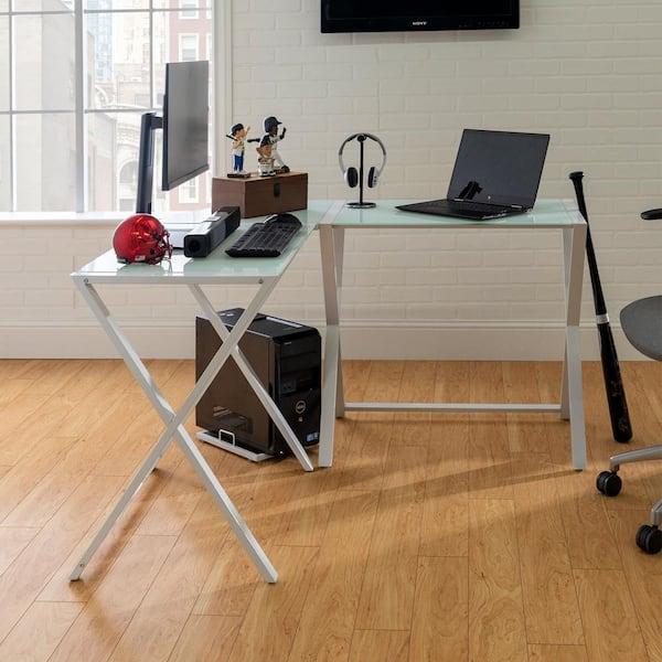 Walker Edison Furniture Company 51 In, White Glass Computer Desk
