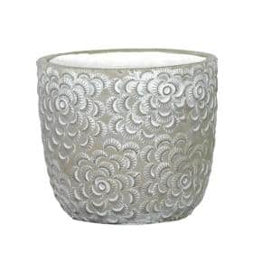 Flora 6 in. Rose Gray Cement Planter with White Interior