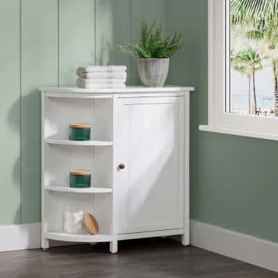 Dover 27 in. W x 28 in. D x 10 in. H Free Standing Linen Cabinet with Shelving in White