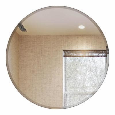 Small Round Beveled Glass Mirror (18 in. H x 18 in. W)