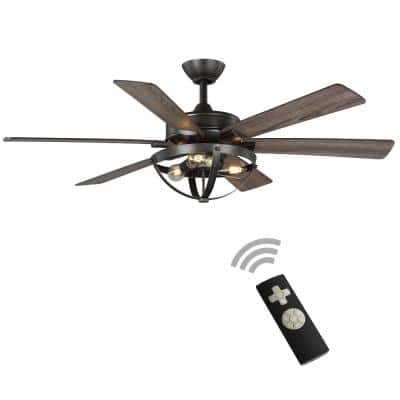 Woodbank 52 in. LED Indoor Aged Iron Ceiling Fan with Light Kit and Remote Control and Reversible Blades