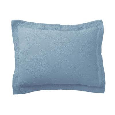 Putnam Matelasse Dusty Blue Cotton King Sham