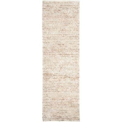 Aspen Shag White/Beige 2 ft. x 11 ft. Solid Runner Rug