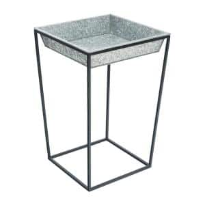 22 in. Tall Black Powder Coat Steel Large Indoor/Outdoor Arne Plant Stand with Galvanized Tray