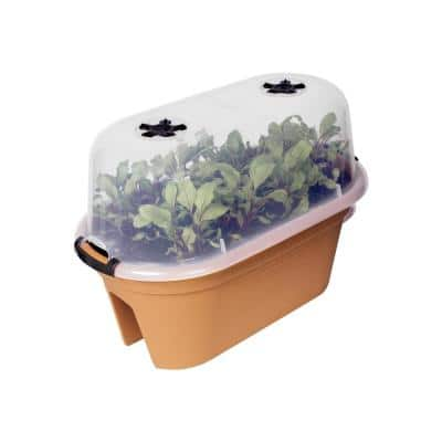22 in. Terracotta Plastic Oval Planter with Cover