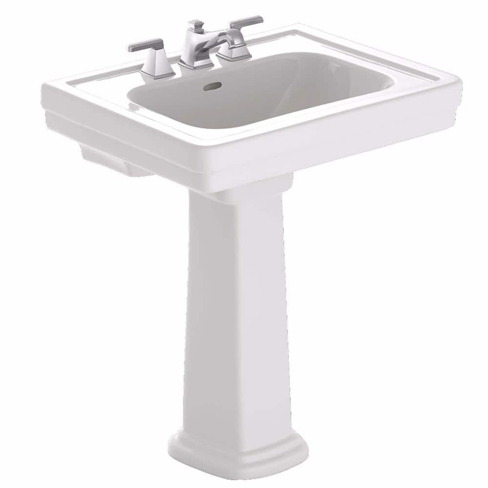 Toto Promenade 28 In Pedestal Combo Bathroom Sink With 8 In Faucet Holes In Cotton White Lpt530 8n 01 The Home Depot