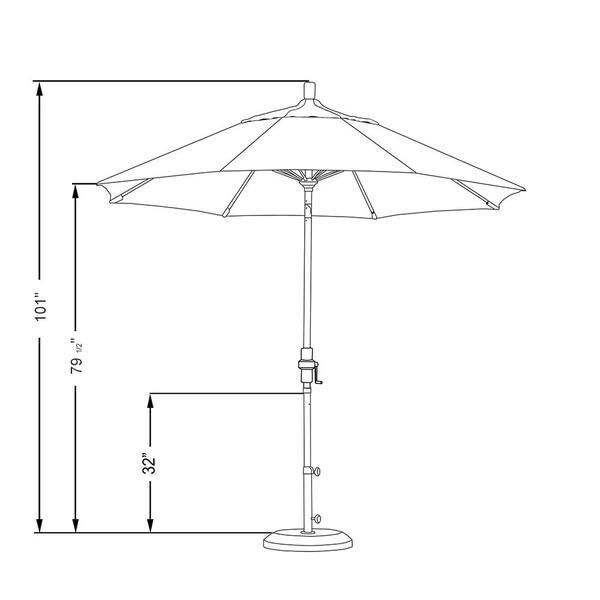 California Umbrella 9 Ft Matted White Aluminum Market Patio Umbrella With Fiberglass Ribs Collar Tilt Crank Lift In Natural Sunbrella Gscuf908170 5404 The Home Depot