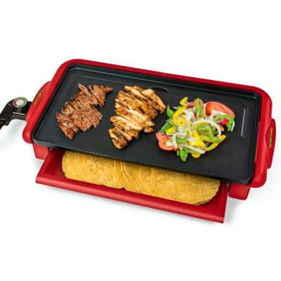 200 sq. in. Red Fiesta Griddle with Warmer and Non-Stick Surface