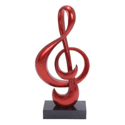 Red Polystone Contemporary Abstract Sculpture