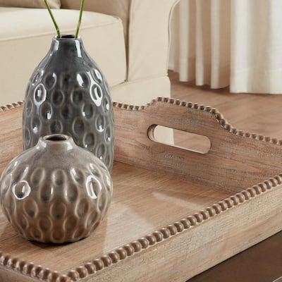Natural Wood Decorative Rectangle Tray (Set of 2)