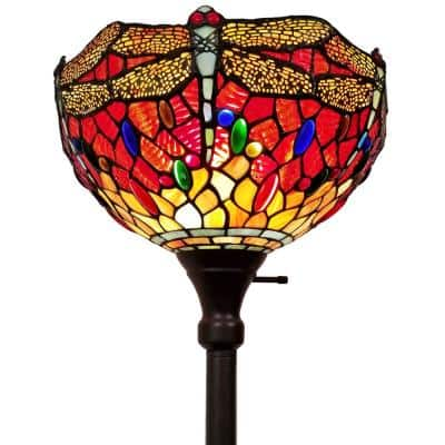 72 in. Tiffany Style Dragonfly Torchiere Floor Lamp