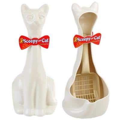 Scoopy Cat Litter Scoop and Holder - White
