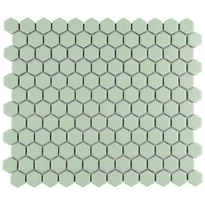 Metro Hex 1 in. Glossy Mint 10-1/4 in. x 11-7/8 in. Porcelain Mosaic Tile (8.65 sq. ft./Case)