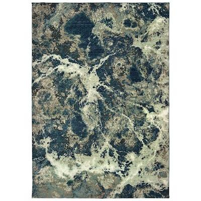 Matthew Grey/Blue 5 ft. x 8 ft. Organic Abstract Area Rug