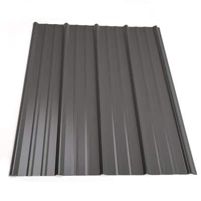 16 ft. Classic Rib Steel Roof Panel in Charcoal