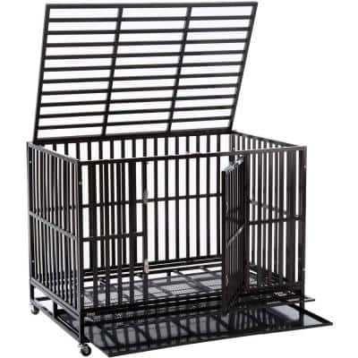 48 in. x 37 in. x 32 in. Sliverylake Fold-able Dog Cage with Metal Tray and Wheels