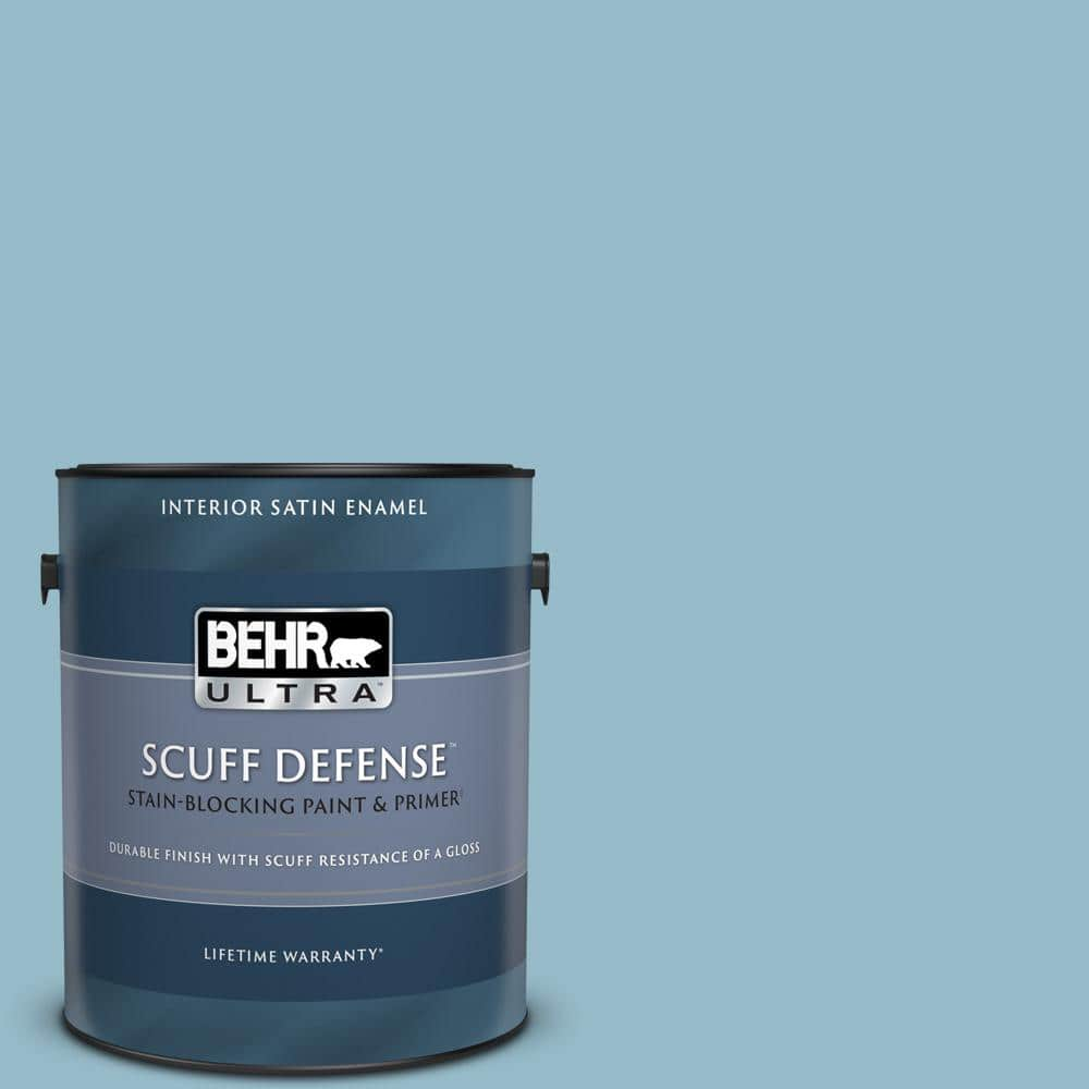 Behr Ultra 1 Gal S480 3 Sydney Harbour Extra Durable Satin Enamel Interior Paint Primer 775001 The Home Depot
